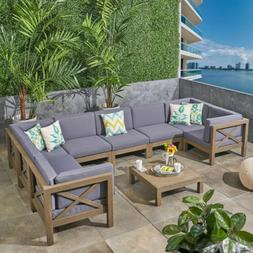 Keith Outdoor Sectional Sofa Set with Coffee Table | 9-Piece