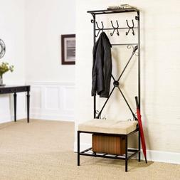 Hall Tree With Storage Bench Coat Rack Mudroom Organizer Fur