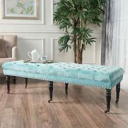 Hastings Tufted Velvet Fabric Ottoman Bench with Casters by