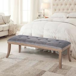 Hayward Ottoman Upholstered Button Tufted Bench with Solid W