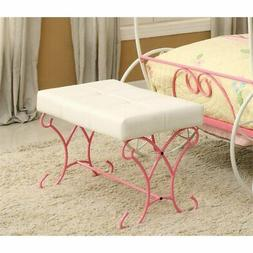 Furniture of America Heiress Kids Bedroom Bench in Pink and