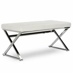 Baxton Studio Herald Faux Leather Bench in White and Silver