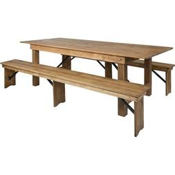 Flash Furniture HERCULES 8' x 40'' Farm Table & 2 Bench Set