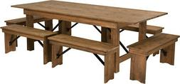 HERCULES Series 8' x 40'' Antique Rustic Folding Farm Table