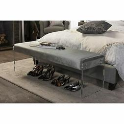 Baxton Studio Hildon Upholstered Bedroom Bench in Gray