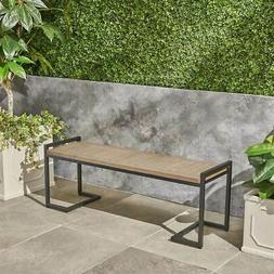 Hopkins Outdoor Bench in Gray and Black Metal
