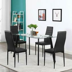 Hot 5 Piece Dining Table Set 4 Chairs Glass Metal Kitchen Ro