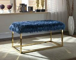 Iconic Home Marilyn Bench Ottoman Faux Fur Brass Finished St