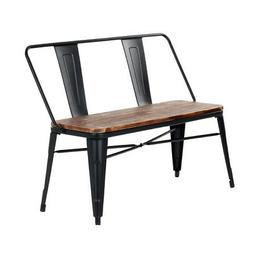Industrial Dining Bench Metal Wooden Seat Farmhouse Kitchen