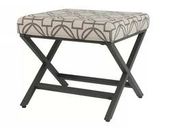 Industrial Style 18 Inch Ottoman Seat Height with Metal X-Be