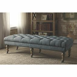 Linon Isabelle Upholstered Tufted Bench Seat Furniture- 62in