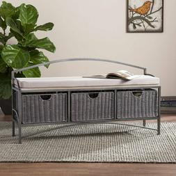Jakian Entryway Storage Bench with Baskets, Gray