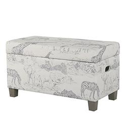HomePop K6407-A822 Youth Upholstered Storage Bench with Hing