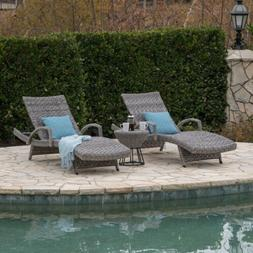 Keira Outdoor 3 Piece Gray Wicker Armed Chaise Lounges with