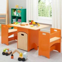 Senda Kids' Wooden Storage Homework Crafting Play Table and