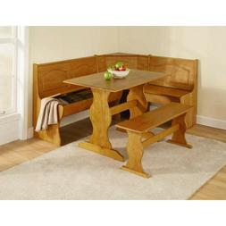 Kitchen Nook Solid Wood Dining Breakfast Set Table Bench Cha