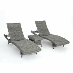 Knightley Outdoor 3 Piece Gray Wicker Armless Chaise Lounges