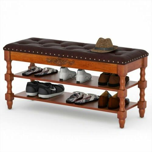 Shoe Storage Bench Entryway Hallway Bedroom Cabinet Furnitur