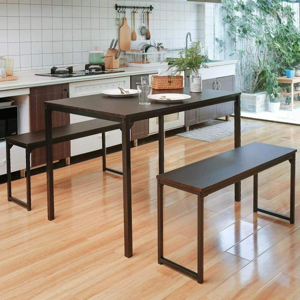 3 Piece Dining Table Set 2 Benches Wood Kitchen Room Breakfa