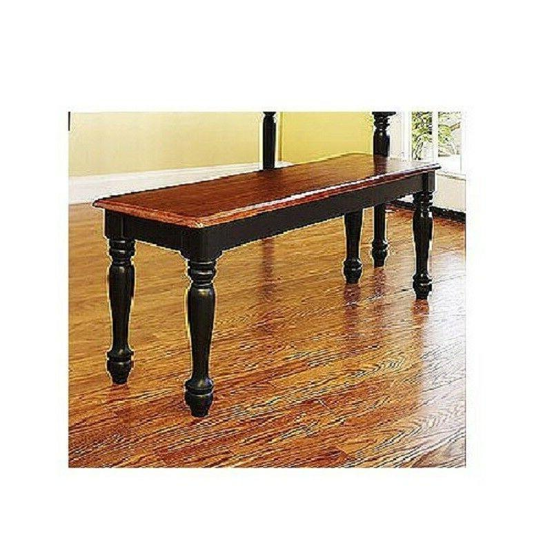 3 Solid Dining Set Table Benches Black/Oak Farmhouse Kitchen