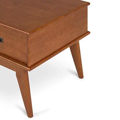 Simpli 3AXCDRP-01-TK Draper Mid Century, Coffee Table, Teak Brown
