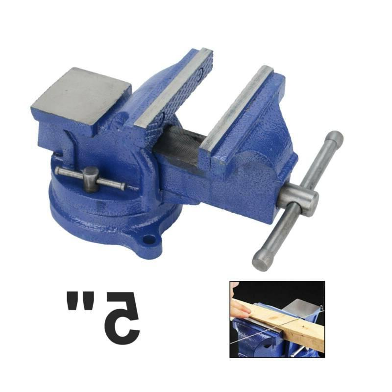 5 bench vise with anvil swivel locking