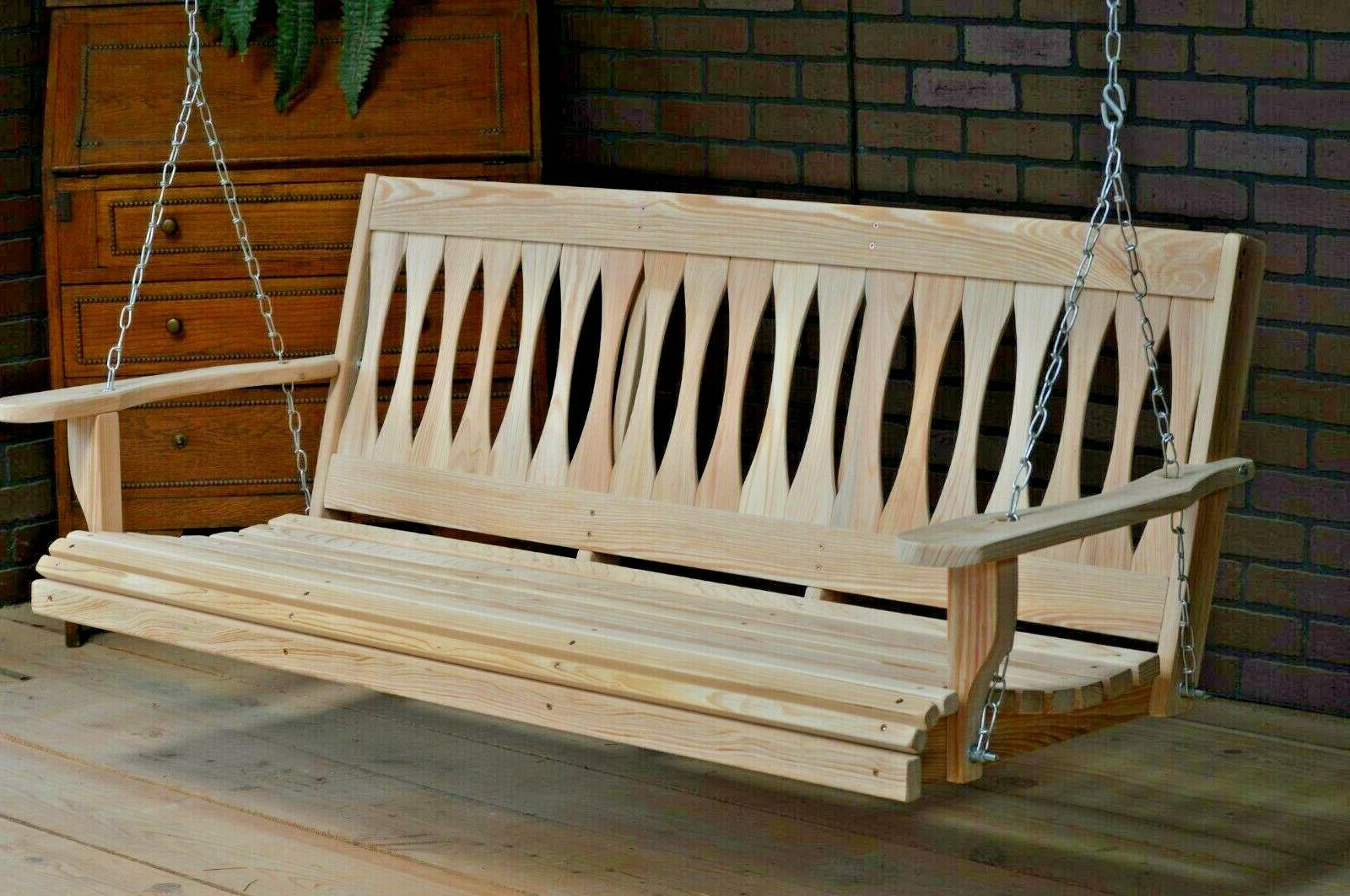 5ft Cypress Wood Porch Bench With Hanging Hardware Made USA