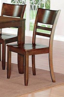 East West 6pc dining set table w/ leaf 4 chairs espresso