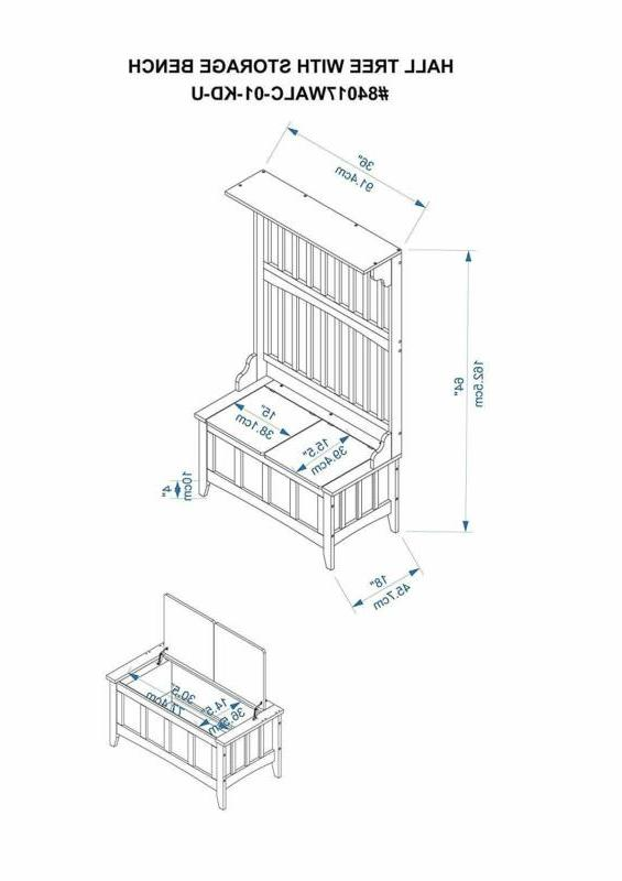 """Linon with Storage Bench, W x 64"""" H, Wal"""