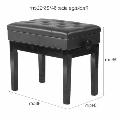 Adjustable Height Storage Piano Bench Wood Seat Padded/Rack