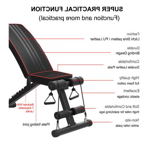 Adjustable Sit AB Incline Abs Bench Fly W/ Rope