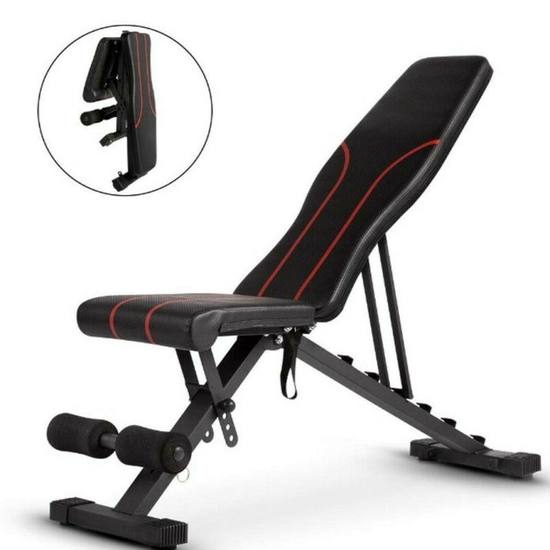 Weight Bench Adjustable Flat Incline Decline Exercise Streng
