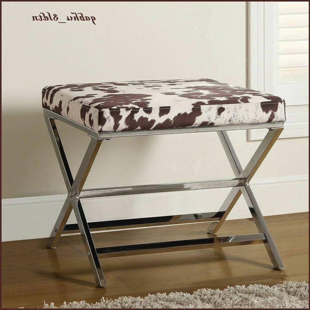 Animal Print Faux Cow Chrome Accent Ottoman Contemporary Mod
