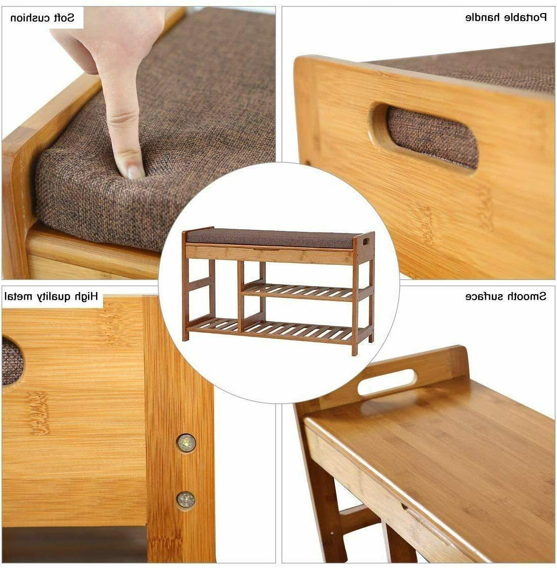 C&AHOME Bamboo Rack Bench,