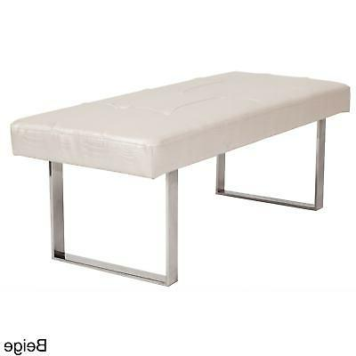 Chic Home Wayne Square-leg Bench Beige Croc Modern & Contemp