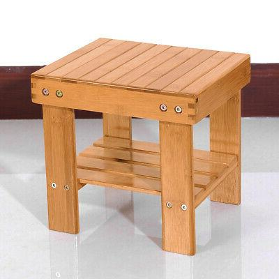 Wood Shower Stool Bathroom Bench Seat Bamboo Spa Bath Chair