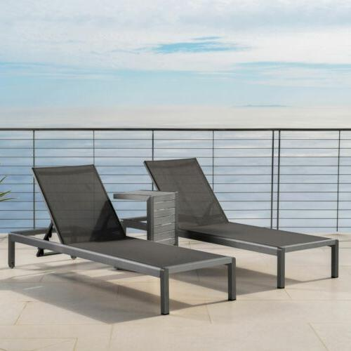 Coral Outdoor Gray Aluminum Chaise Lounge C-Shaped Side
