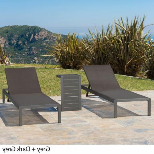 Coral Bay Outdoor Aluminum Chaise Lounge C-Shaped Table