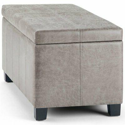 Simpli Leather Storage Bench in Taupe