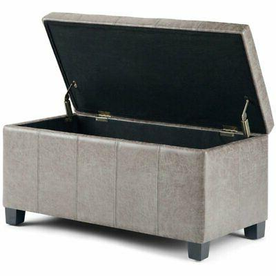 Simpli Home Leather Storage Ottoman in Gray