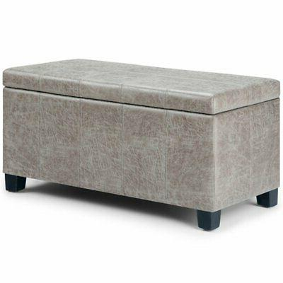 dover faux leather storage ottoman bench in