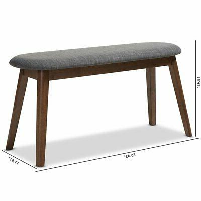 Baxton Easton Upholstered Bench in and Walnut Brown