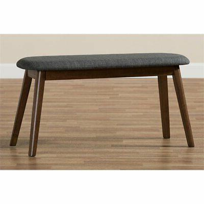 Baxton Easton Upholstered Bench and Walnut Brown
