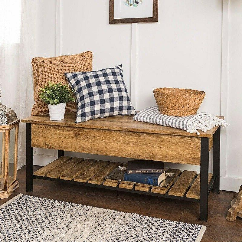 Entry Bench Farmhouse Mud Storage Shoe Rustic Country Lodge