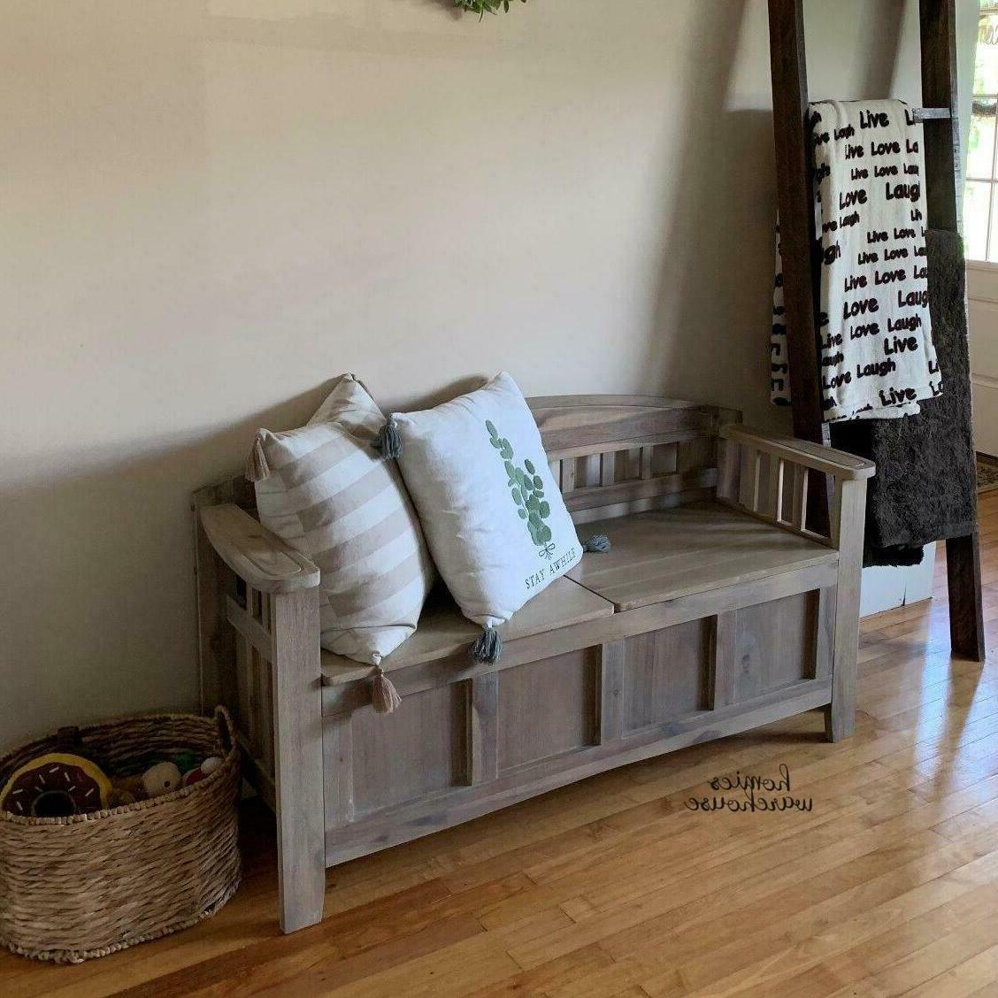 Entryway Bench Wood Seat French Style
