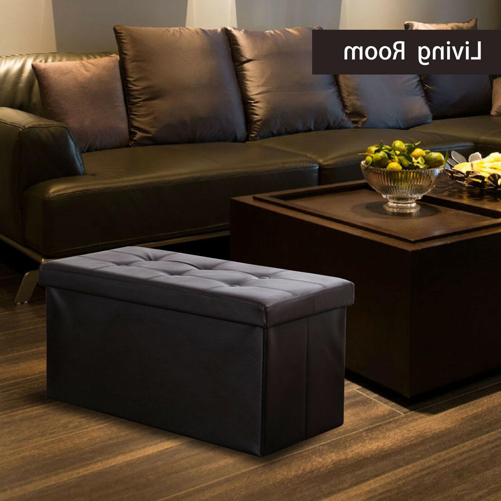 Faux Leather Ottoman Box Rest Footstool