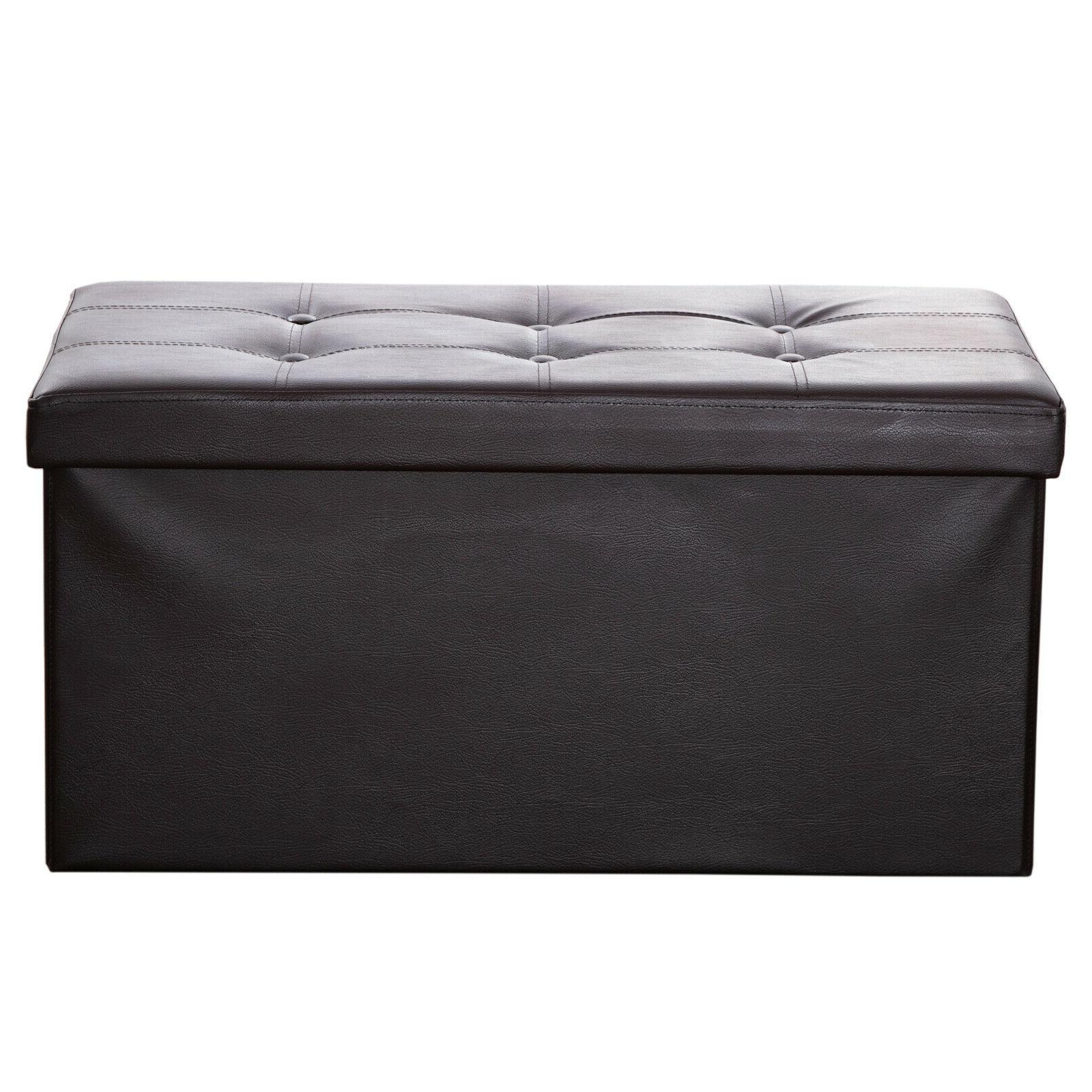 Faux Leather Storage Bench Ottoman Chest Folding