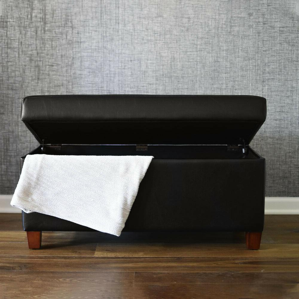 Faux leather storage bench with wooden tray