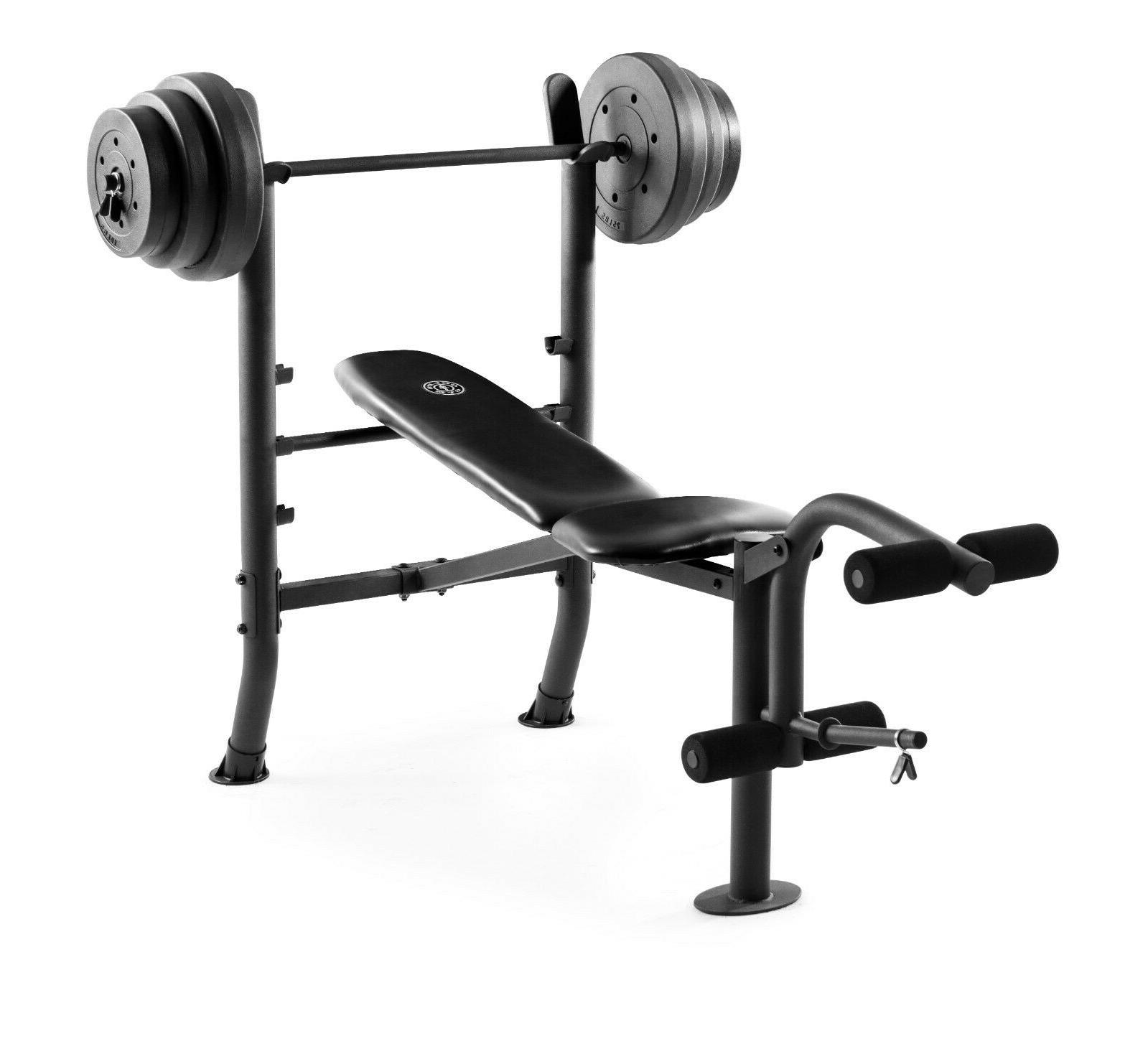 Fitness Bench With Weight Set 100lb Gym Barbell Equipment Ex