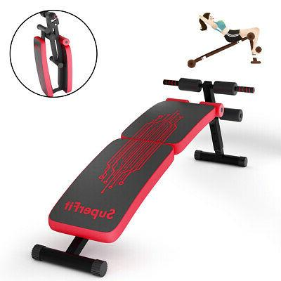 Folding Bench Sit-up Board Curved Bench Home Red